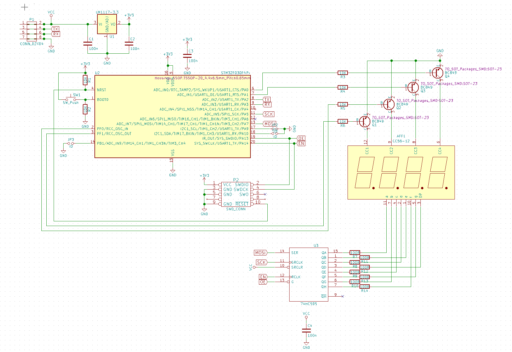 Yassd Chainable Uart Controlled 7 Segment Displays Jaeblog Display Wiring Diagram The 8 Resistors Of 100 Ohm Close To 74hc595 Limit Current For With Red Used Is A Bit Less Then 10ma