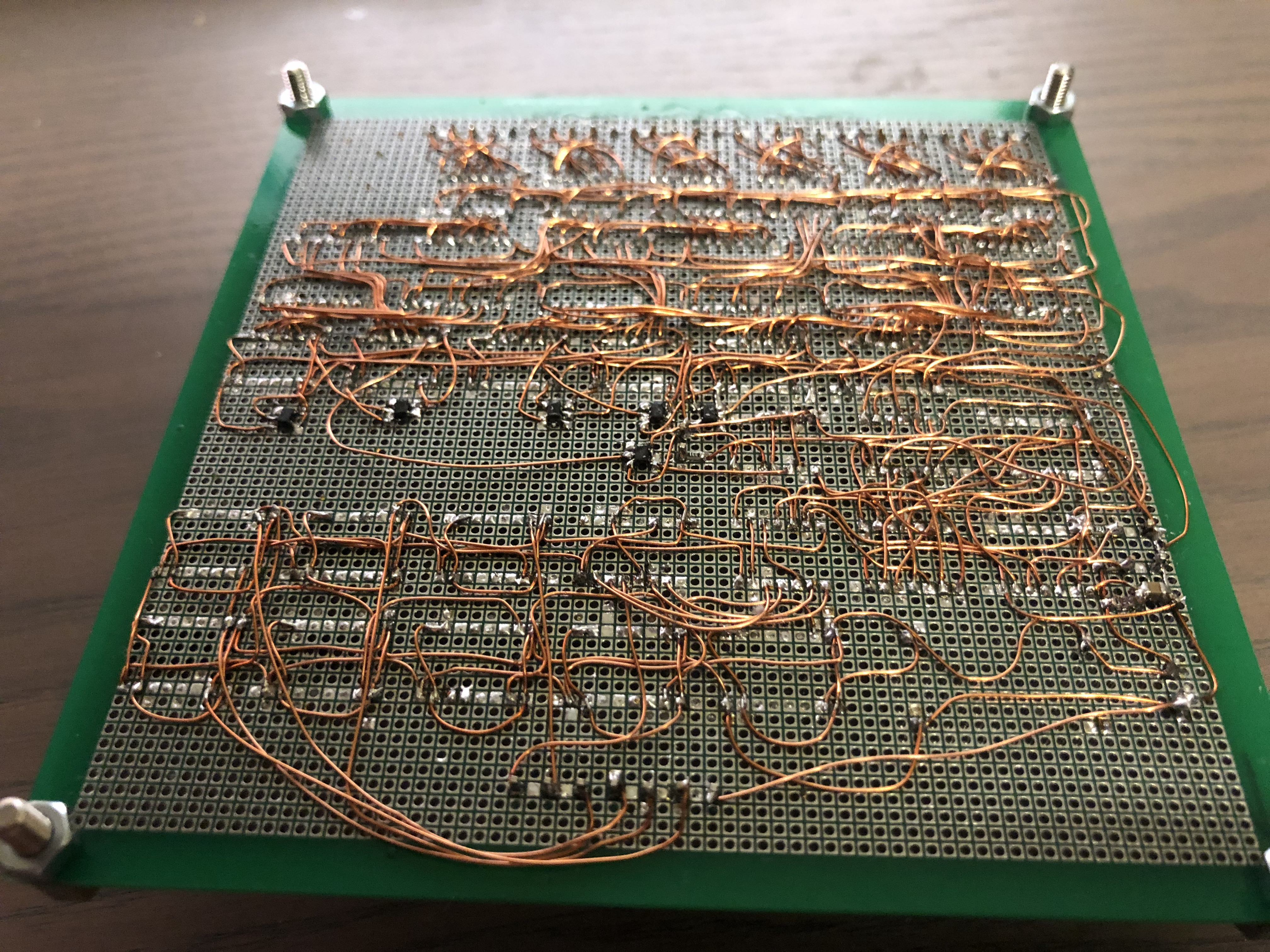 A 7400 Frequency Counter On Perfboard Jaeblog 10mhz Circuit After Making Some Modifications The Full Schematic For My Version Is As This